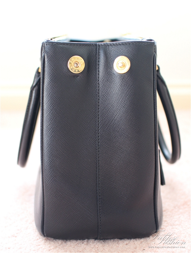 prada tote bags - Prada Saffiano Lux Small Tote Review and Photos - Fables in Fashion
